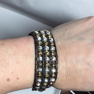 Jewelry - SALE! 🛑 Leather bracelet with gold & silver beads